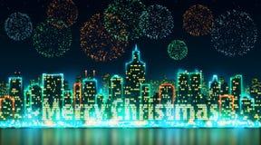 Silhueta da skyline da cidade com as janelas, iluminadas sob a forma do Feliz Natal de uma inscrição, fundo com fogos-de-artifíci Imagens de Stock