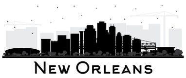Silhueta da skyline da cidade de Nova Orleães Louisiana com Buildin preto ilustração do vetor