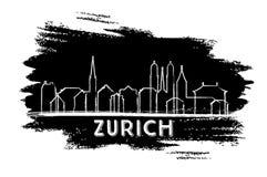Silhueta da skyline da cidade de Suíça de Zurique Esboço desenhado mão ilustração royalty free