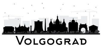 A silhueta da skyline da cidade de Volgograd Rússia com construções pretas é Fotografia de Stock