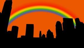 Silhueta da skyline da cidade Imagens de Stock Royalty Free
