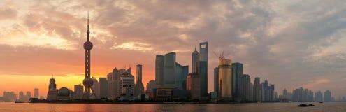 Silhueta da skyline da manhã de Shanghai Fotos de Stock Royalty Free