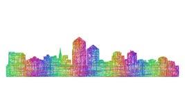 Silhueta da skyline de Albuquerque - linha arte multicolorido Ilustração Stock