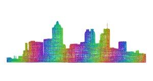 Silhueta da skyline de Atlanta - linha arte multicolorido Ilustração Stock