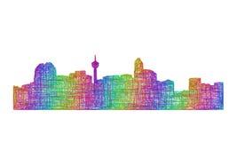Silhueta da skyline de Calgary - linha arte multicolorido Ilustração do Vetor
