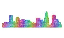 Silhueta da skyline de Charlotte - linha arte multicolorido Ilustração do Vetor