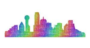 Silhueta da skyline de Dallas - linha arte multicolorido Ilustração Royalty Free