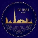 Silhueta da skyline de Dubai no fundo do vintage Fotos de Stock