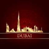 Silhueta da skyline de Dubai no fundo do vintage Fotografia de Stock Royalty Free