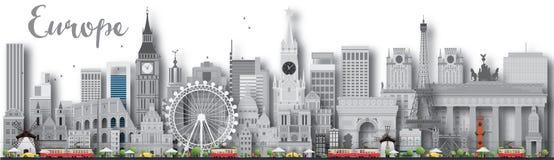 Silhueta da skyline de Europa com marcos diferentes Foto de Stock Royalty Free