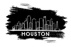 Silhueta da skyline de Houston Esboço desenhado mão ilustração stock