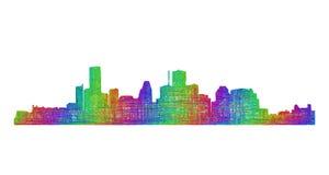 Silhueta da skyline de Houston - linha arte multicolorido Ilustração Stock