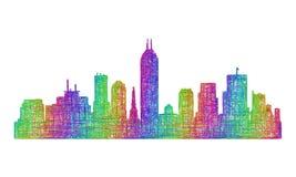 Silhueta da skyline de Indianapolis - linha arte multicolorido Ilustração Stock