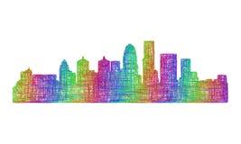 Silhueta da skyline de Louisville - linha arte multicolorido Ilustração Royalty Free