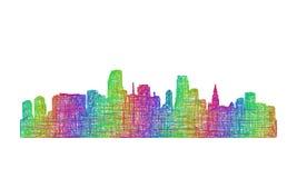 Silhueta da skyline de Miami - linha arte multicolorido Ilustração Stock