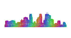 Silhueta da skyline de Minneapolis - linha arte multicolorido Foto de Stock