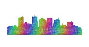 Silhueta da skyline de Phoenix - linha arte multicolorido Fotos de Stock Royalty Free