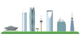 Silhueta da skyline de Riyadh Arábia Saudita Imagem de Stock