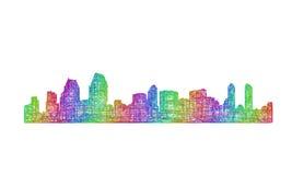 Silhueta da skyline de San Diego - linha arte multicolorido Imagem de Stock Royalty Free