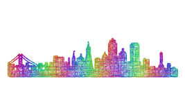Silhueta da skyline de San Francisco - linha arte multicolorido Imagens de Stock