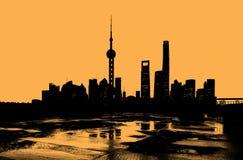 Silhueta da skyline de Shanghai Fotografia de Stock