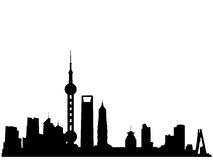Silhueta da skyline de Shanghai Fotos de Stock