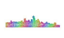 Silhueta da skyline de Vancôver - linha arte multicolorido Ilustração do Vetor