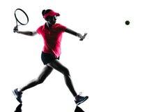 Silhueta da tristeza do jogador de tênis da mulher Imagem de Stock Royalty Free