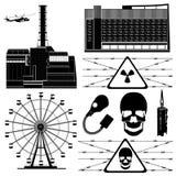 Silhueta da zona do elemento da construção do símbolo de Chernobyl Foto de Stock