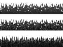 A silhueta das beiras da grama ajustou-se no vetor branco do fundo Foto de Stock