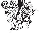 Silhueta das flores, das folhas e dos redemoinhos no preto ilustração stock