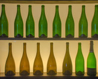 Silhueta das garrafas Fotos de Stock
