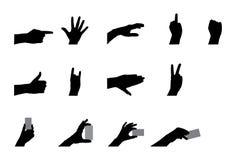 Silhueta das mãos Fotos de Stock