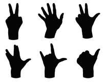 Silhueta das mãos Fotografia de Stock