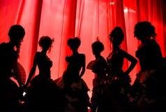 Silhueta das meninas e das mulheres em trajes do carnaval e em vestidos de bola no teatro na fase atrás da cortina vermelha foto de stock royalty free