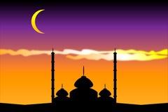 Silhueta das mesquitas Fotos de Stock Royalty Free