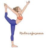 Silhueta das mulheres Senhor da pose da ioga da dança Natarajasana Fotografia de Stock