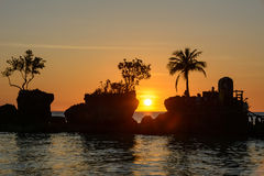 Silhueta das palmeiras no por do sol na ilha de Boracay, Filipinas imagem de stock royalty free