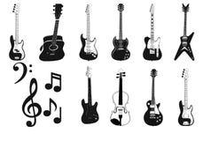 Silhueta de Accoustic e das guitarra elétricas Fotos de Stock