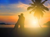 Silhueta de amantes românticos Foto de Stock Royalty Free