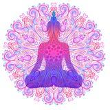 Silhueta de assento da Buda sobre a flor de Lotus decorativa esoteric ilustração stock