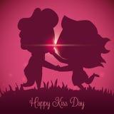 Silhueta de beijo dos pares no por do sol do dia do beijo, ilustração do vetor Foto de Stock Royalty Free