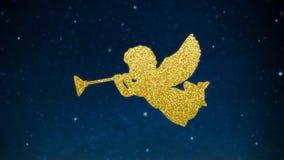 Silhueta de brilho do Natal dos anjos com as trombetas feitas de luzes douradas Céu noturno estrelado, estrelas de incandescência ilustração royalty free