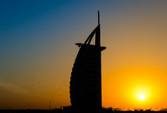 Silhueta de Burj Al Arab Fotos de Stock Royalty Free