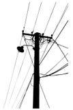 Silhueta de cabos aéreos da corrente eléctrica Imagens de Stock