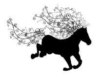 Silhueta de cavalo running Imagens de Stock