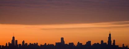 Silhueta de Chicago da baixa Fotografia de Stock