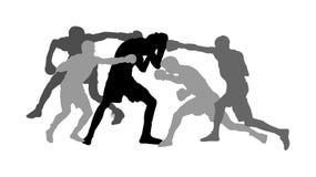 Silhueta de combate desigual do vetor Apenas contra tudo, os hooligan injustos lutam Terror irritado Rua que bate e que perfura ilustração royalty free