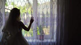 Silhueta de cortinas da revelac?o da mulher e a vista fora da janela video estoque