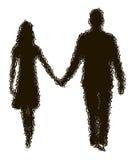 Silhueta de desaparecimento de pares loving Fotos de Stock Royalty Free
